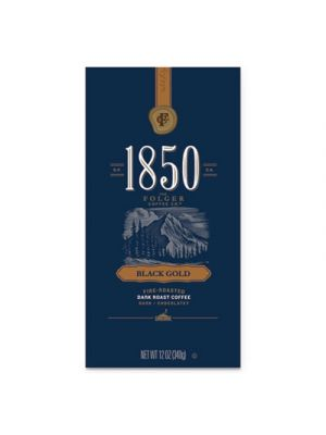 1850 Coffee, Black Gold Dark Roast Ground, 12 oz Bag, 6/Carton