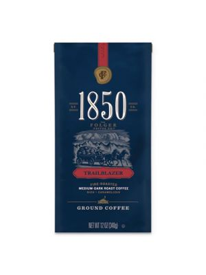 1850 Coffee, Trailblazer Medium-Dark Roast Ground, 12 oz Bag, 6/Carton