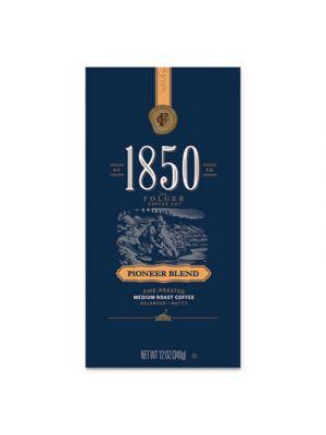 1850 Coffee, Pioneer Blend Medium Roast Whole Bean, 12 oz Bag, 6/Carton