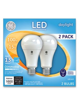 LED Daylight A21 Dimmable Light Bulb, 15W, 2/Pack