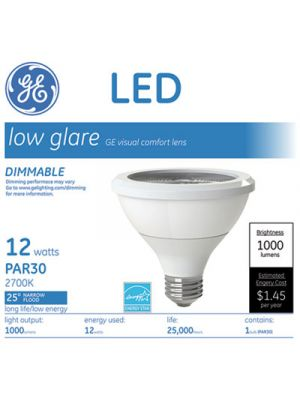 LED PAR30 Dimmable Warm White Flood Light Bulb, 3000K, 12W