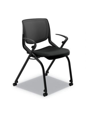 Motivate Nesting/Stacking Flex-Back Chair, Onyx/Black, Base: Black