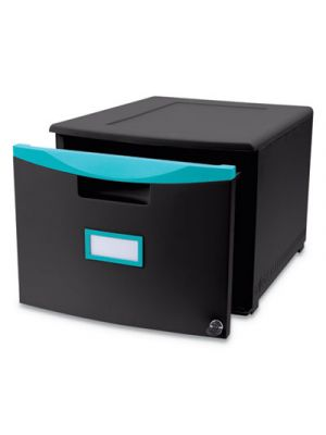 Single-Drawer Mobile Filing Cabinet, 14 3/4w x 18 1/4d x 12 3/4h, Black/Teal