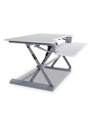 High Rise Height Adjustable Standing Desk with Keyboard Tray, 36w, White/Gray