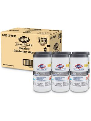 VersaSure Cleaner Disinfectant Wipes, 1-Ply, 6