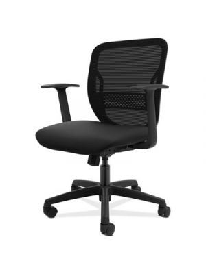 Gateway Mid-Back Task Chair, Black Seat, Fixed Arms
