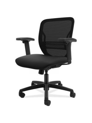 Gateway Mid-Back Task Chair, Black Seat, Height-Adjustable Arms