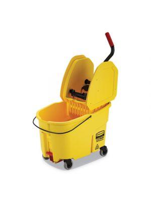 WaveBrake 2.0 Bucket/Wringer Combos, Down-Press, 11 gal, Plastic, Yellow