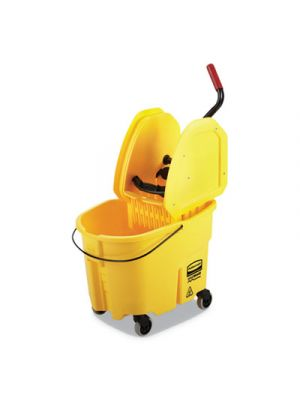 WaveBrake 2.0 Bucket/Wringer Combos, Down-Press, 8.75 gal, Plastic, Yellow