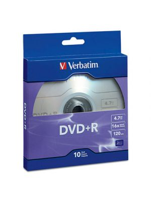 DVD+R Recordable Disc, 4.7GB, 16x, Silver, 10/Pack