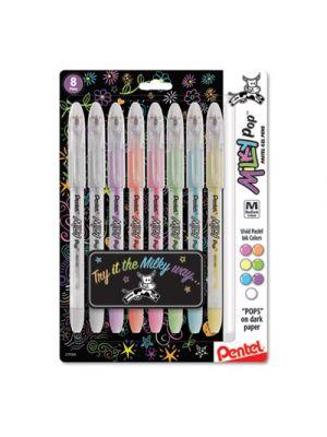 Milky Pop Stick Gel Pen, 0.8mm, Assorted Ink, Assorted Milky Pop Barrel, 8/PK