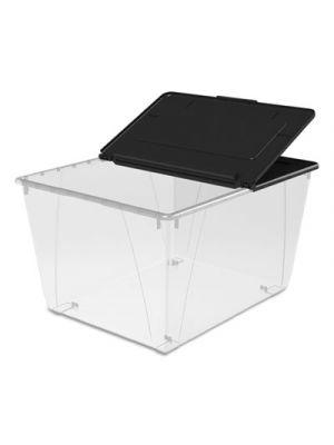 Storage Tote, 22.7w x 18.25d x 12.86h, Translucent/Black