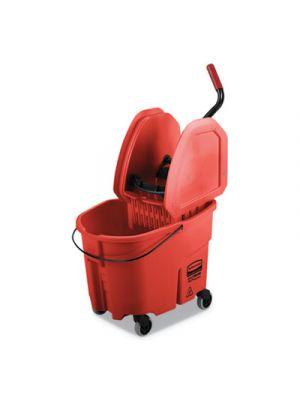 WaveBrake 2.0 Bucket/Wringer Combos, 35 qt, Down Press, Plastic, Red