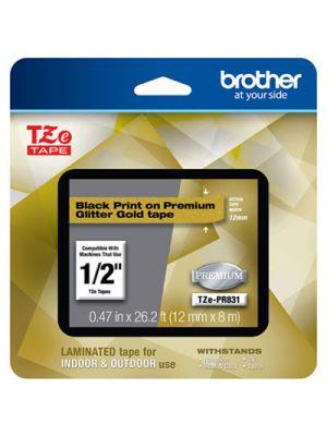 TZe Premium Laminated Tape, 12mm x 8m, Black on Gold