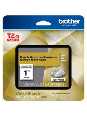 TZe Premium Laminated Tape, 24mm x 8m, Black on Gold