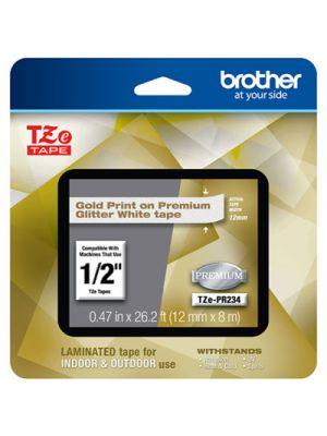 TZe Premium Laminated Tape, 12mm x 8m, Gold on White