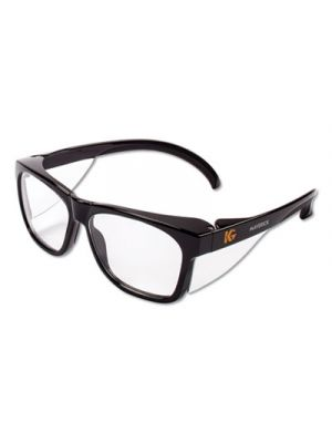 Maverick Safety Glasses, Black, Polycarbonate Frame, Clear Lens