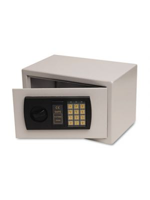 Personal Safe, 0.3 ft3, 12-1/4w x 7-3/4d x 7-3/4h, Light Gray