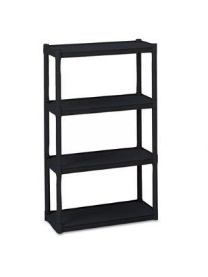 Rough N Ready Four-Shelf Open Storage System, Resin, 32w x 13d x 54h, Black