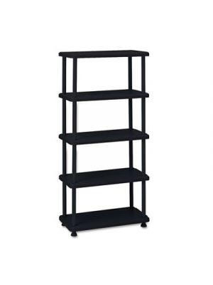 Rough N Ready Five-Shelf Open Storage System, Resin, 36w x 18d x 74h, Black