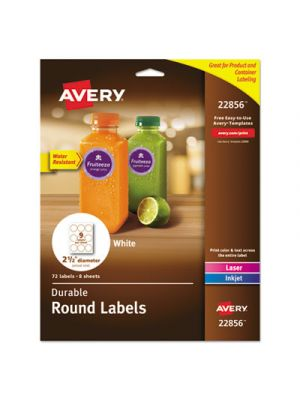 Durable White Round ID Labels, 2 1/2