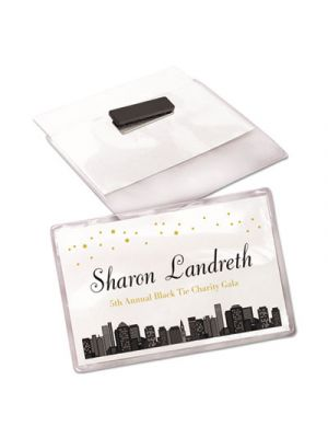 Magnetic Style Name Badge Kit, Horizontal, 4