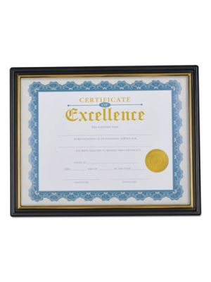 Document Frames, Plastic, 8 1/2 x 10 Insert, Black/Gold, 3/Pack