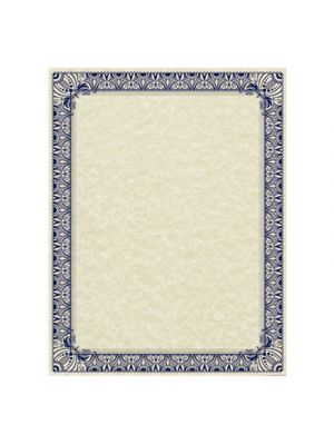 Parchment Certificates, Retro, 8 1/2 x 11, Ivory, Blue/Silver Border, 50/Pack