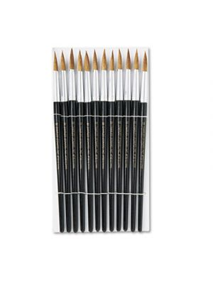 Artist Brush, Size 12, Camel Hair, Round, 12/Pack