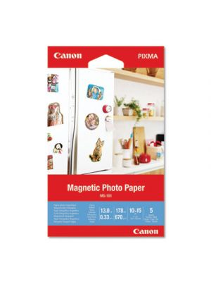 Glossy Magnetic Photo Paper, 13 mil, 4 x 6, White, 5 Sheets/Pack