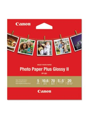 Photo Paper Plus Glossy II, 10.6 mil, 5 x 5, White, 20 Sheets/Pack