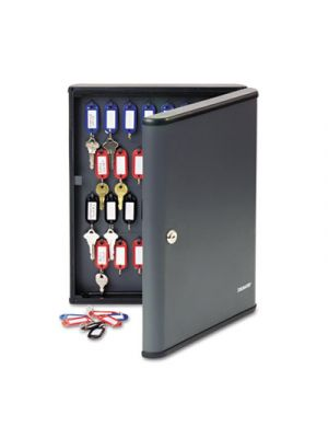 Security Key Cabinets, 60-Key, Steel, Charcoal Gray, 12 x 2 3/8 x 14 3/4
