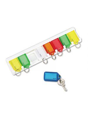 Color-Coded Key Tag Rack, 8-Key, Plastic, White, 10 1/2 x 1/4 x 2 1/2