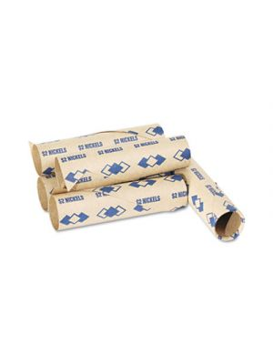 Preformed Tubular Coin Wrappers, Nickels, $2, 1000 Wrappers/Carton