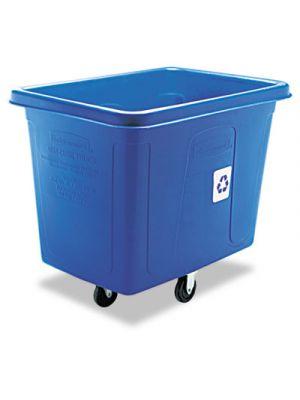 Recycling Cube Truck, Rectangular, Polyethylene, 500lb Cap, Blue