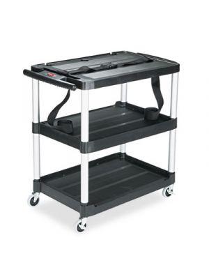 MediaMaster Three-Shelf AV Cart, 18-5/8w x 32-1/2d x 32-1/8h, Black