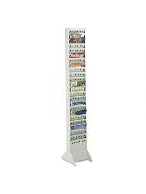 Steel Magazine Rack, 23 Compartments, 10w x 4d x 65-1/2h, Gray