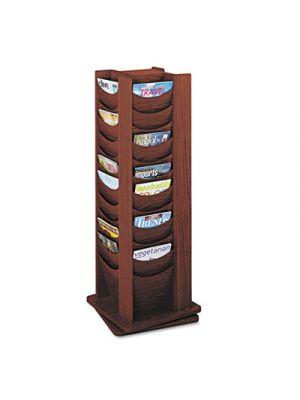 Rotary Display, 48 Compartments, 17-3/4w x 17-3/4d x 49-1/2h, Mahogany