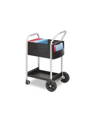 Scoot Mail Cart, One-Shelf, 22w x 27d x 40-1/2h, Black/Silver