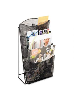Onyx Mesh Counter Display, Four Compartments, 9 3/4w x 9 1/2d x 18h, Black