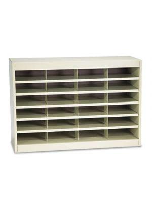 Steel/Fiberboard E-Z Stor Sorter, 24 Sections, 37 1/2 x 12 3/4 x 25 3/4, Sand
