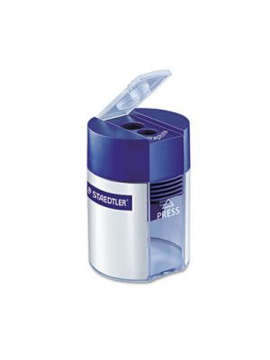Handheld Manual Double-Hole Cylinder Pencil Sharpener, Blue/Silver