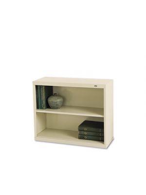 Metal Bookcase, Two-Shelf, 34-1/2w x 13-1/2d x 28h, Putty