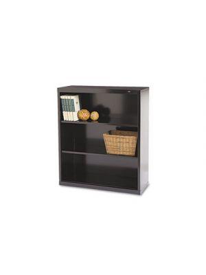 Metal Bookcase, Three-Shelf, 34-1/2w x 13-1/2d x 40h, Black