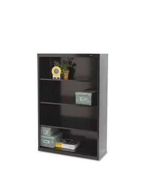 Metal Bookcase, Four-Shelf, 34-1/2w x 13-1/2d x 52-1/2h, Black