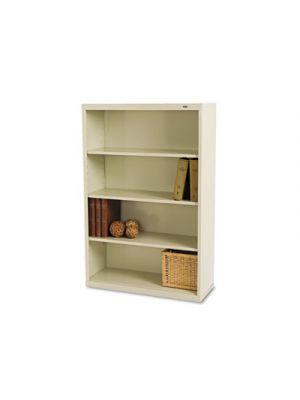Metal Bookcase, Four-Shelf, 34-1/2w x 13-1/2d x 52-1/2h, Putty