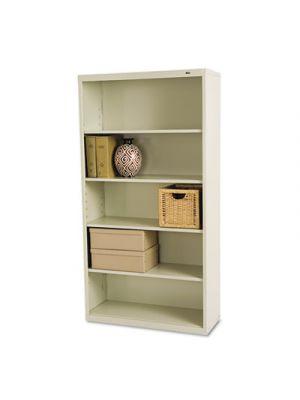 Metal Bookcase, Five-Shelf, 34-1/2w x 13-1/2d x 66h, Putty