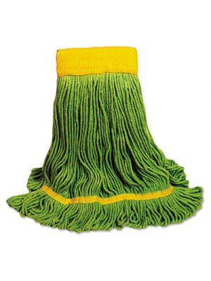 EcoMop Looped-End Mop Head, Recycled Fibers, Medium Size, Green, 12/Carton