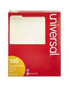 File Folders; 1/3 Cut Assorted; One-Ply Top Tab; Letter; Manila; 100/Box