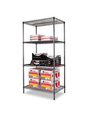 Wire Shelving Starter Kit, Four-Shelf, 36w x 24d x 72h, Black Anthracite